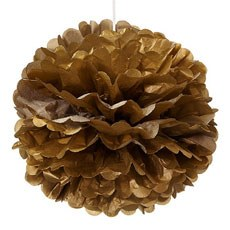 Large Metallic Paper Pom Pom - Gold