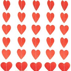 Mini Paper Heart Banner - Red