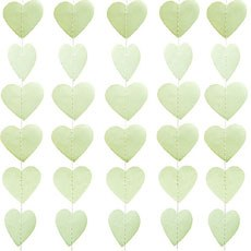 Mini Paper Heart Banner - Sage