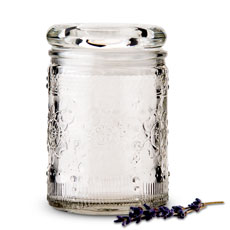 Floral Pressed Glass Mason Jar Favor with Stopper