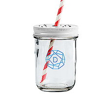Glass Mason Jar with Rose Cut in White Lid - Printed