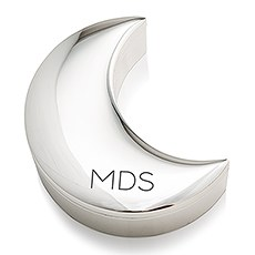 Personalized Silver Half Moon Jewelry Box - Modern Initials Etching