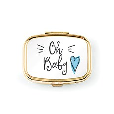 Oh Baby Small Gold Keepsake Tooth Box - Blue Heart
