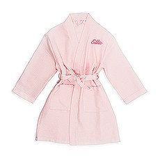Personalized Embroidered Junior Bridesmaid Waffle Robe with Pockets - Blush