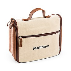 Personalized Men's Hanging Travel Toiletry Bag - Light Brown Canvas