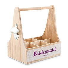 Personalized Wooden Bottle Caddy with Opener - Bridesmaid