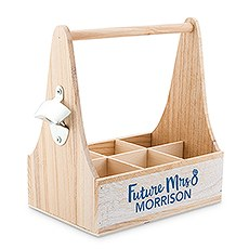 """Personalized Wooden Bottle Caddy with Opener - """"Future Mrs."""""""
