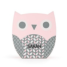 Personalized Wooden Piggy Bank for Kids- Pink Owl