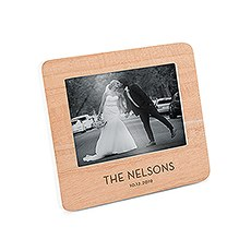 Custom Wooden Picture Frame with White Edge - Modern Font