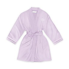 Personalized Junior Bridesmaid Satin Robe With Pockets - Lavender / Light Purple