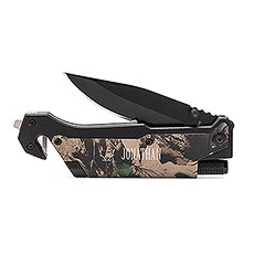 Personalized Camouflage Pocket Knife with Light - Antler Motif