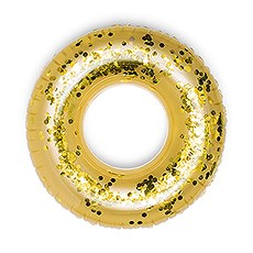 Giant Inflatable Pool Float Toy - Gold Glitter Tube