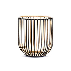 Small Geometric Wire Basket Tea Light Candle Holder - Black & Gold