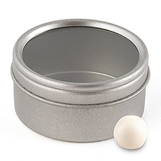Small Silver Metal Round Tins with Lids