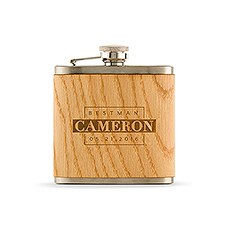 Personalized Best Man Oak Wrapped Hip Flask