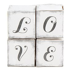 """LOVE"" Cube Favor Boxes with Charming Aged Print"