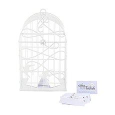 Modern Decorative Birdcage with Birds in Flight - White