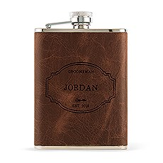 Leather Wrapped Hip Flask - Fairy Tale Monogram
