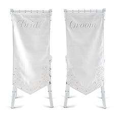 Linen Chair Banners with Embroidered Bride & Groom Inscription