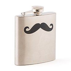Black Mustache Stainless Steel Hip Flask