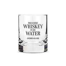 Personalized Whiskey Glasses with Whiskey in my Water Print