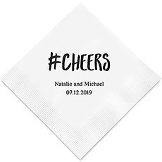 Hashtag Cheers Printed Paper Napkins