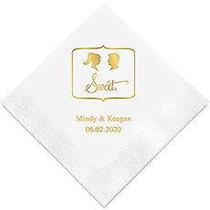 Sweet Silhouette - Ponytail Bride and Spiked Hair Groom Printed Napkins