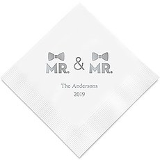 Mr. & Mr. Same Sex Double Bowtie Printed Napkins