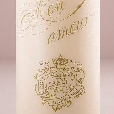 Parisian Love Letter Wedding White Unity Candle