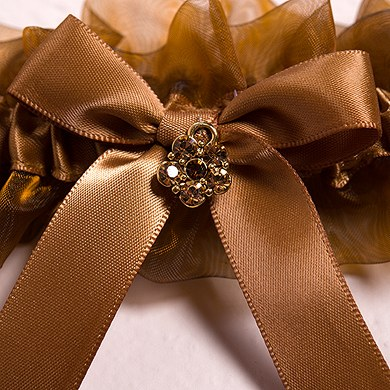 Bronze Elegance Two Piece Bridal Wedding Garter Set