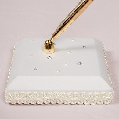 Scattered Pearls and Crystals Designer Wedding Guest book Pen Base