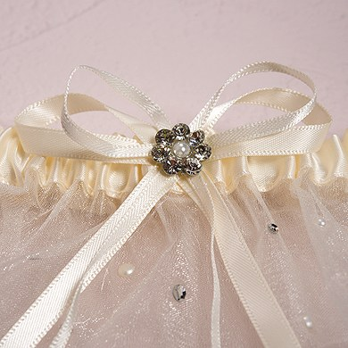 Scattered Pearls and Crystal Wedding Garter Set