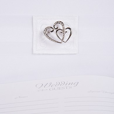 Classic Double Heart Traditional Wedding Reception Guest Book