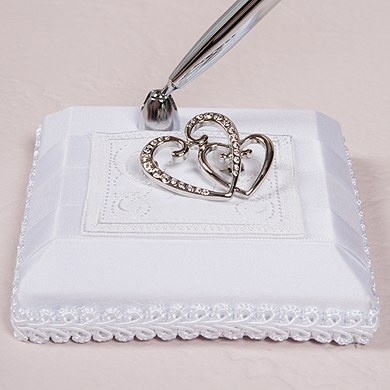 Classic Double Heart Satin Wrapped Wedding Reception Pen Set