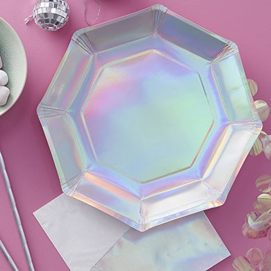 Iridescent Paper Plates - 8 Pack