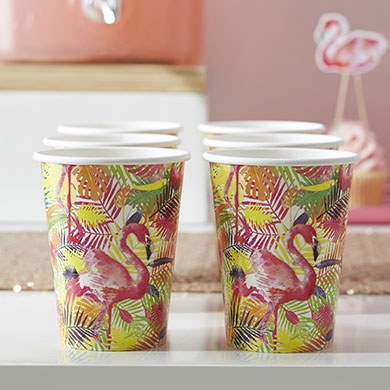 Flamingo Paper Cups - 8 Pack