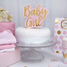 Pink & Gold Foil Baby Girl Cake Topper