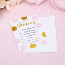 Pink Christening Invitations
