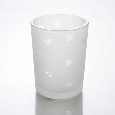 Heart Frosted Tea Light Holder