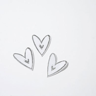 White & Silver Paper Hearts Trim Pack