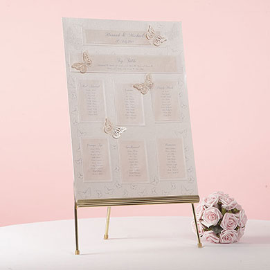 Feather Scroll Wedding Table Seating Plan Kit A3