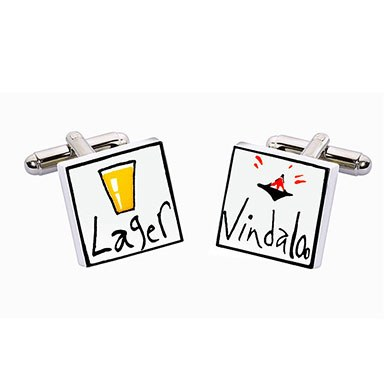 Lager and Vindaloo Ceramic Cufflinks