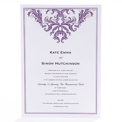 Baroque Border Flat Wedding Stationery Collection Invitation