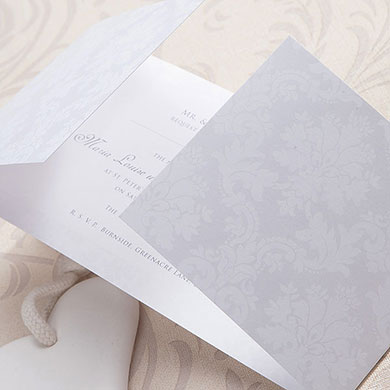 Damask Classic Pearl Gatefold Stationery Collection Invitation