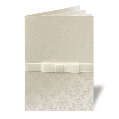Damask Ribbon Pearlised Wallet With Ribbon Stationery Evening Invitation