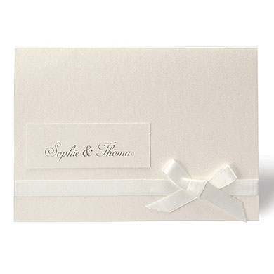 Simplicity Pearlised Wallet With Ivory Ribbon Invitation