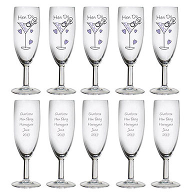 Personalized Hen Do Toast Flute Pack