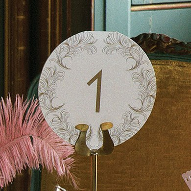 Charleston Affair Feather Round Table Numbers 1-10