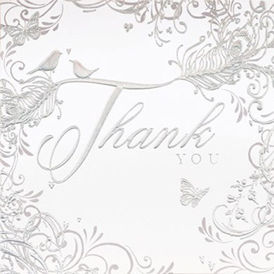Contemporary Hearts Wedding Thank You Cards - 6 Pack