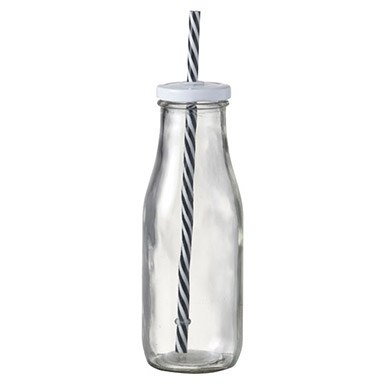 Glass Milk Bottle with Straw